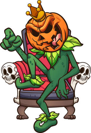 Cartoon pumpkin king sitting on its throne. Vector clip art illustration with simple gradients. Some elements on separate layers.