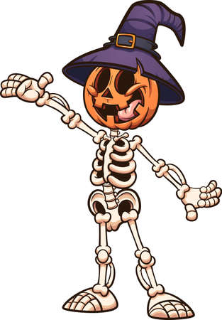 Halloween pumpkin monster with skeleton body and witch hat. Vector clip art illustration with simple gradients. All on a single layer.