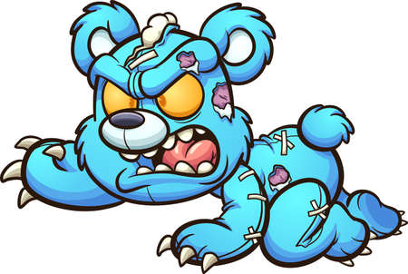 Evil crawling cartoon Teddy bear. Vector clip art illustration with simple gradients. All on a single layer.