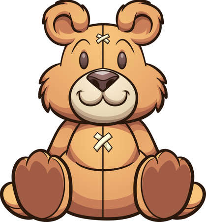 Cute cartoon teddy sitting front view. Vector clip art illustration with simple gradients. All on a single layer.