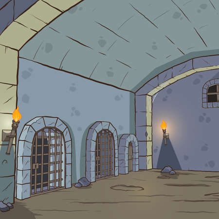 Cartoon medieval dungeon background. Vector clip art illustration with simple gradients. background and torch fire on separate layers.