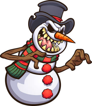 Scary cartoon evil snowman wearing a top hat. Vector clip art illustration with simple gradients. All on a single layer. Ilustracja