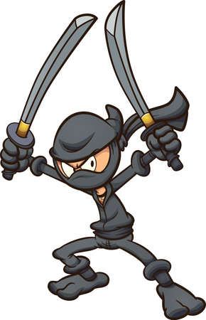 Angry cartoon ninja wielding two swords. Vector clip art illustration with simple gradients. All on a single layer. Ilustracja