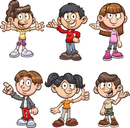 Cute cartoon boys and girls on different poses. Vector clip art illustration with simple gradients. Each on a separate layer.