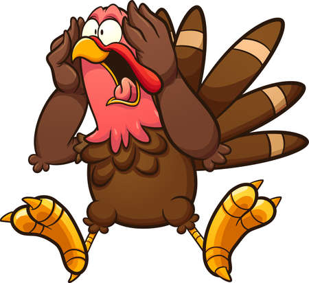 Fat scared cartoon screaming turkey. Vector clip art illustration with simple gradients. All on a single layer.
