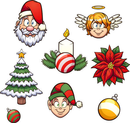 Diverse cartoon Christmas elements. Vector clip art illustration with simple gradients. Each on a separate layer.