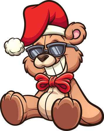 Cool cartoon Christmas bear with sunglasses. Vector clip art illustration with simple gradients. All on a single layer. Ilustracja