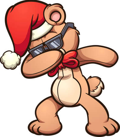 Dabbing cool cartoon Christmas bear. Vector clip art illustration with simple gradients. All in a single layer. Ilustracja