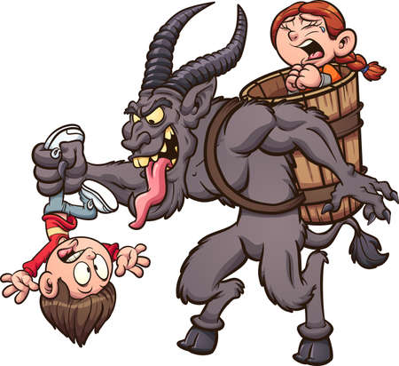 Cartoon Krampus character kidnapping a couple of kids. Vector clip art illustration with simple gradients. Some elements on separate layers.