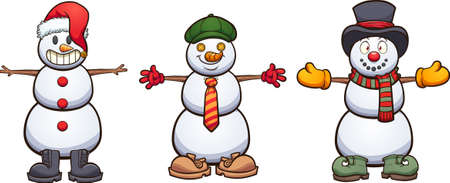 Three cute cartoon snowmen with different items of clothing. Vector clip art illustration with simple gradients. Some elements on separate layers.