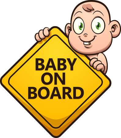 Cute cartoon baby holding a baby on board sign. Vector clip art illustration with simple gradients. All on a single layer. Ilustracja