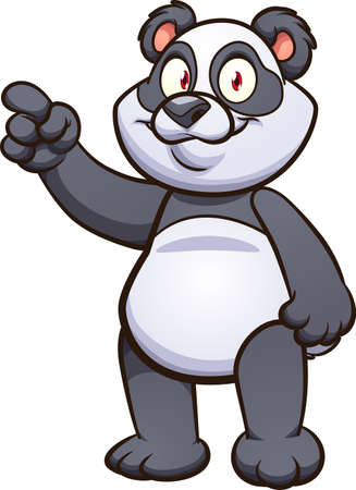 Cute cartoon panda pointing finger. Vector clip art illustration with simple gradients. Some elements on separate layers.