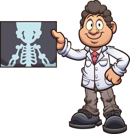 Cartoon radiologist doctor holding an x-ray. Vector clip art illustration with simple gradients. Some elements on separate layers.