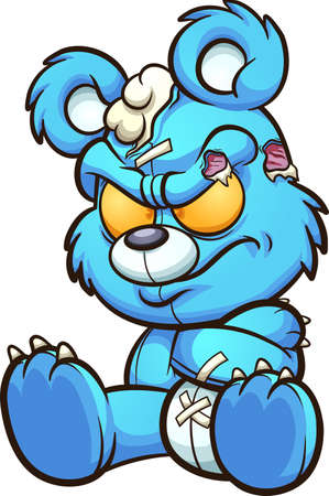 Angry cartoon blue teddy bear pouting. Vector clip art illustration with simple gradients. All on a single layer.
