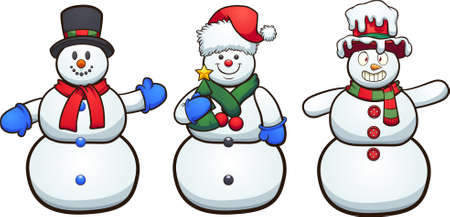 Three cute cartoon snowmen with different faces and poses. Vector clip art illustration with simple gradients. Some elements on separate layers.