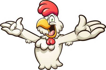 Cartoon chicken character with open arms. Vector clip art illustration with simple gradients. All on a single layer. Ilustracja