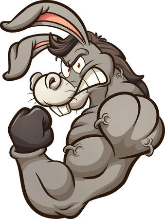 Strong donkey mascot flexing it's arm. Vector clip art illustration with simple gradients. All on a single layer.