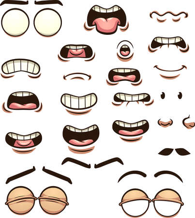 Cartoon mouths pronouncing different phonemes. Vector clip art illustration with simple gradients. Some elements on separate layers.