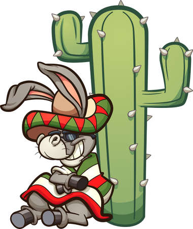 Mexican cartoon donkey resting on a cactus. Vector clip art illustration with simple gradients. Donkey and cactus on separate layers. Ilustracja