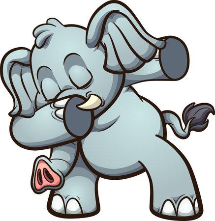 Dabbing fat and gray cute elephant.