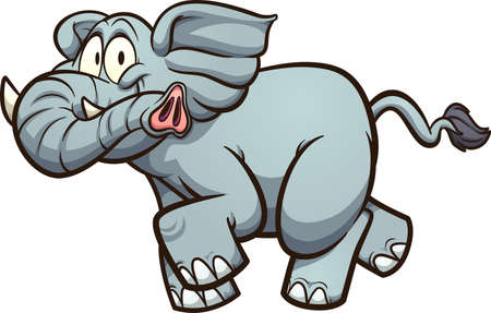 Happy fat, gray cartoon elephant running. Vector clip art illustration with simple gradients. All on a single layer.