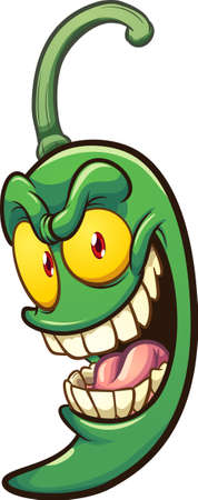 Cartoon green jalapeno pepper with crazy smile. Vector clip art illustration with simple gradients. All on a single layer.