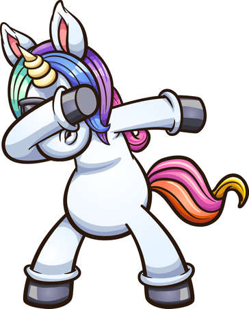 Dabbing unicorn wearing sunglasses. Vector clip art illustration with simple gradients. All on a single layer.