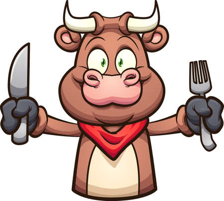 Cartoon  bull with extended arm holding a knife and a fork. Vector clip art illustration with simple gradients. All on a single layer. Ilustracja