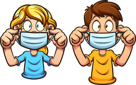 Cartoon kids putting on face masks. Vector clip art illustration with simple gradients. Each on a separate layer. Ilustracja