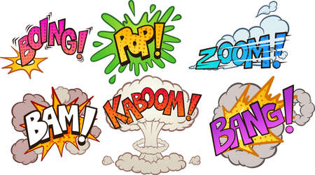 Comic book cartoon sound effects pop art style. Vector clip art illustration with simple gradients. Each on a separate layer.