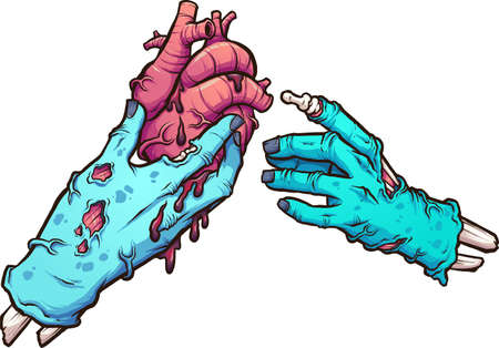 Zombie hand giving a bleeding heart to another zombie hand. Vector clip art illustration with simple gradients. Some elements on separate layers.