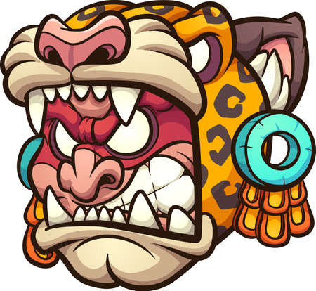 Aztec Jaguar warrior with angry face cartoon. Vector clip art illustration with simple gradients. All on a single layer.