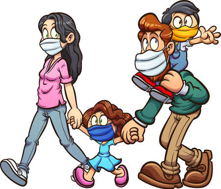 Family wearing face masks cartoon. Vector clip art illustration with simple gradients. All on a single layer.