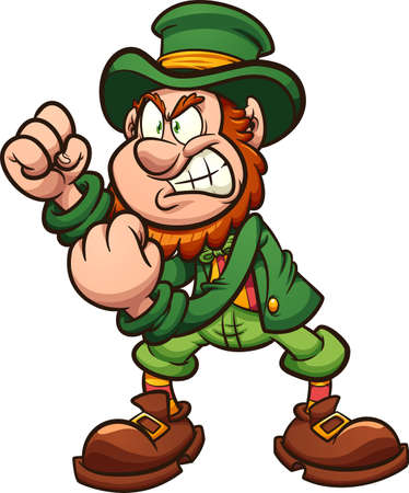 Angry leprechaun holding fists up ready to fight cartoon. Vector clip art illustration with simple gradients. All on a single layer. 向量圖像