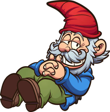 Garden gnome in a resting position cartoon. Vector clip art illustration with simple gradients. Some elements on separate layers.