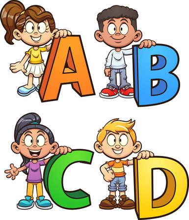 Kids holding letters from the alphabet. Vector clip art illustration with simple gradients. Some elements on separate layers. 向量圖像