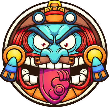 Aztec sun with angry face cartoon. Vector clip art illustration with simple gradients. All on a single layer.