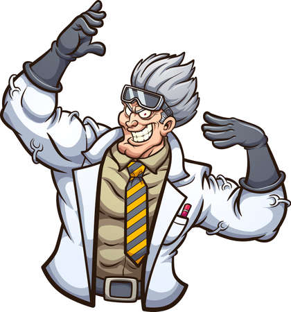 Strong evil scientist posing with arms up. Vector clip art illustration with simple gradients. All on a single layer.
