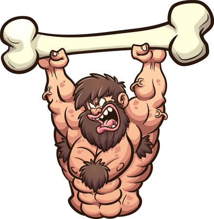 Strong cartoon caveman lifting a big bone. Vector clip art illustration with simple gradients. All on a single layer. 向量圖像