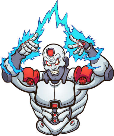 Cyborg strong and evil with sparks coming out of hands. Vector clip art illustration with simple gradients. All on a single layer.
