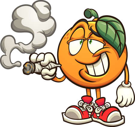 Orange smoking with big smile cartoon. Vector clip art illustration with simple gradients. All on a single layer. 向量圖像