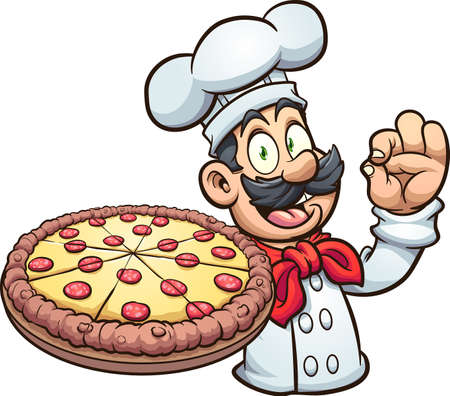Chef holding a big pepperoni pizza cartoon. Vector clip art illustration. All on a single layer. 向量圖像