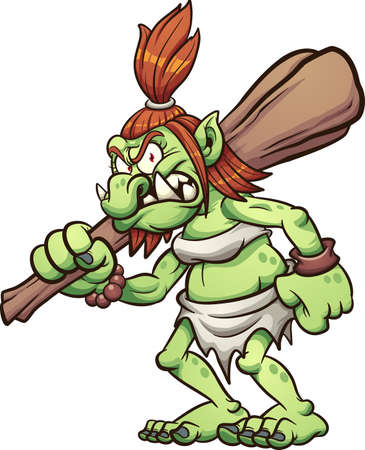 Female troll holding a big club. Vector clip art illustration. All on a single layer.