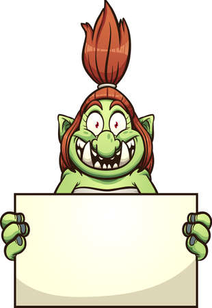 Female troll with big smile holding a blank sign. Vector clip art illustration. Some elements on separate layers.