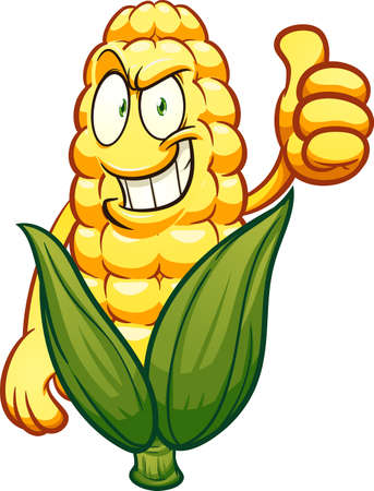 Corn cartoon character with thumbs up. Vector clip art illustration. All on a single layer.
