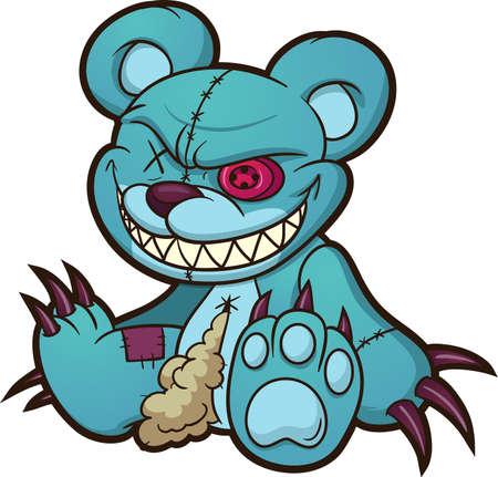Evil blue teddy bear sitting down. Vector clip art illustration. All on a single layer.