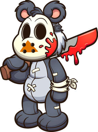 Teddy bear wearing a hockey mask and holding a bloody machete. Vector clip art illustration. All on a single layer.