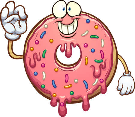 Cartoon pink donut character making the okay hand sign. Vector clip art illustration with simple gradients. All on a single layer. Ilustracja