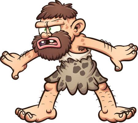 Caveman with a confused face and pose. Vector clip art illustration with simple gradients. All in a single layer.
