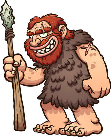 Caveman or neanderthal holding a spear and smiling. Vector clip art illustration with simple gradients. All in a single layer.